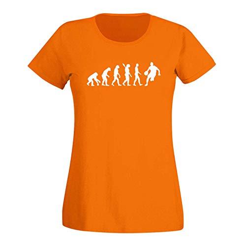 T-Shirt Evolution Basketball dribbeln Sport Jordan NBA 15 Farben Damen XS - 3XL DBB Alba Brose 46ers Dunking Olympia Bulls Celtics Spurs, Größe:2XL, Farbe:orange - Logo Weiss
