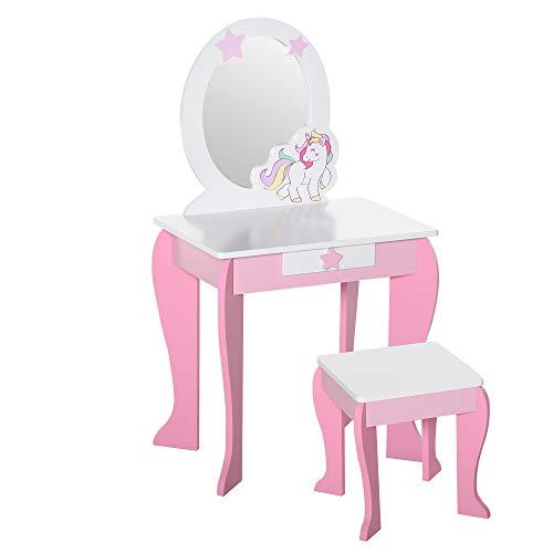 HOMCOM Coiffeuse Enfant Design Licorne - Tabouret Inclus - dim. 49L x 34l x 90H cm - tiroir, Miroir - MDF - Rose Blanc