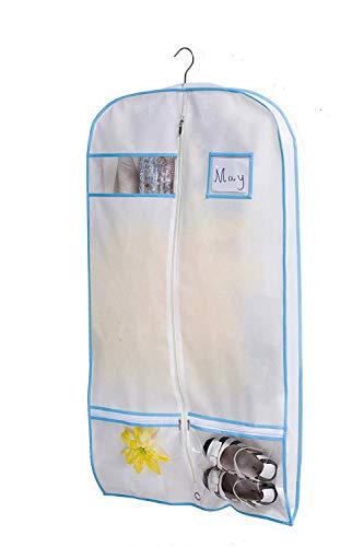 KIMBORA 40' Travel Dance/Dress Costume Garment Bag with Clear Accessories Zipper Pockets Suit Garment Cover (White)
