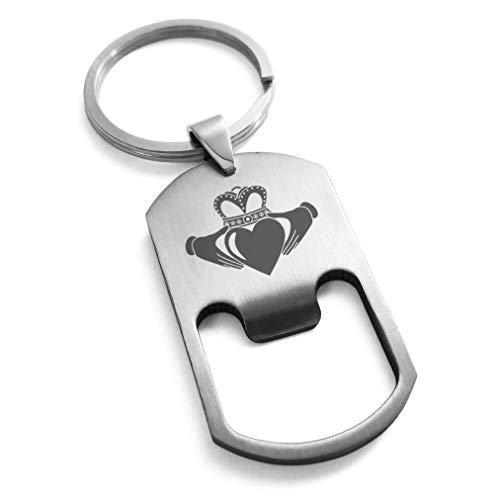 Tioneer Stainless Steel Celtic Claddagh Unity Bottle Opener Dog Tag Keychain Keyring
