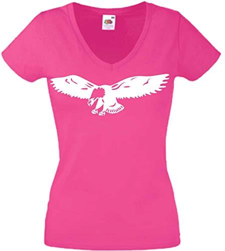 JINTORA Camiseta T-Shirt - Mujer Rosa - V-Cuello - tamaño XXL - Muscle - Bald Eagle - Pájaro Americano - JDM/Die Cut - para Fiesta Carnaval Carnaval Laboral Deportes