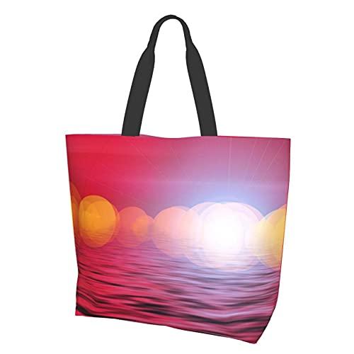 Wave Sunset Beautiful Sky Still Waterproof Large Canvas Tote Bag Conveniente Bolsa Casual Bolsa de Hombro Durable Gimnasio Playa Viajes Diarios Compras 15.7 X 19.7 X 15.0 cm