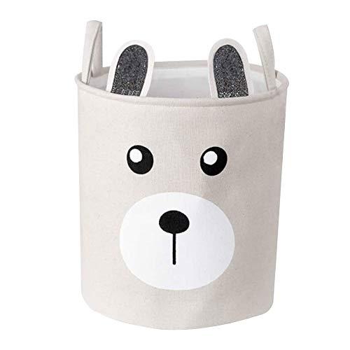 XYDZ Kinder Wäschekorb Faltbare Aufbewahrungsbox Spielzeug Veranstalter Kleider Organizer Wäschekorb Waschküche für Büro Schlafzimmer Kleidung Wäsche mit PU-Ledergriffen und Kordelzug-Verschluss Rund