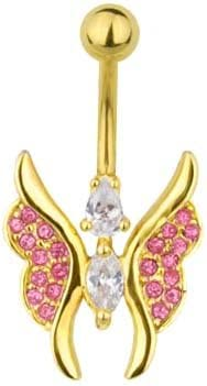 Pink & Clear cz Pretty Fancy Butterfly Gold plated Belly button navel Ring piercing bar body jewelry 14g