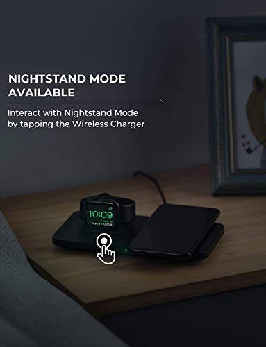 """Wireless Charger, Seneo 2 in 1 Dual Wireless Charging Pad 2 It Is Bound to Be Different - The base of the Watch charging dock had been sloped, which is convenient to connect with Watch tightly. The wireless charging pad decorated with threaded silicone for stable charging and it is also the """"sweet spot"""" for charging accurately. How to Improve Concentration - Use Seneo wireless charging pad improving concentration in work or study and without interruption. Just put your phone on the wireless charger, juice yourself, and your phone up simultaneously. The Close Partner on the Bedside - The mute charging and the green gentle indicator shows that the charging is in progress with stability and without interruption."""