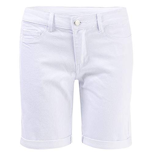 Vero Moda VMHOT Seven NW DNM Long F Short Color Jean, Blanc (Bright White), M Femme