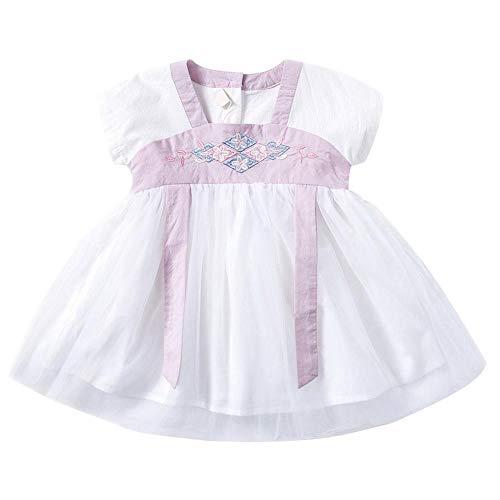 Baby Tutu Jurk Baby Hanfu Rok Zacht Katoen Kant Outfit voor Kleine Meisjes Korte Mouw Lint Kleding 100 roze