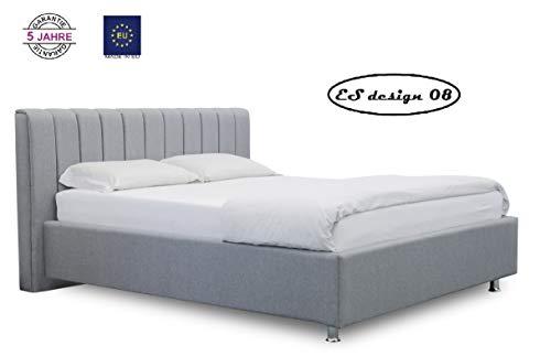 ES Design 08 Polsterbett Antony mit 5 Jahren Garantie, EIN hochwertiges Bett, Lattenrost und Stauraum (180 x 200 cm)