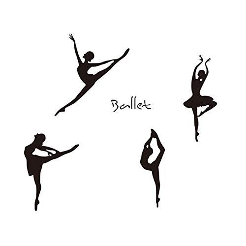 Winhappyhome Balletto Girl Adesivi Murali per Camera da Letto Soggiorno Studio di Danza Sfondo Adesivi Rimovibili Decor Stickers