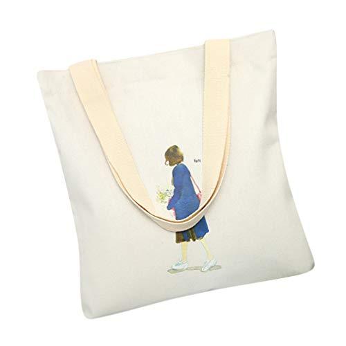 HYhy Bolsa de hombro de lona de impresión de dibujos animados Bolsa de asas reutilizable con mango Shopper Bolsa plegable, color blanco