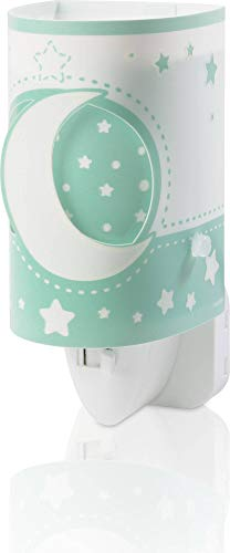 Dalber Moon Light Lámpara Infantil Luz Noche Quitamiedos Enchufe LED Luna y Estrellas MoonLight Verde, 0.3 W