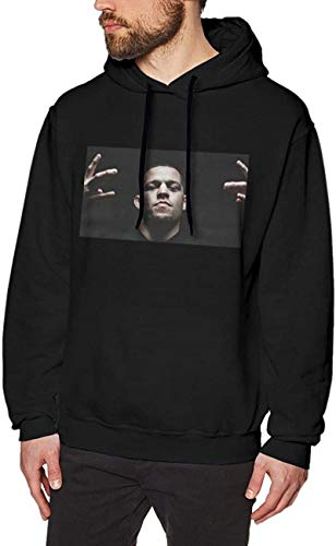 LANGPIAOEZU Nate Diaz Hoodie for Mens/Womens Classic Style Nate Diaz Pullover Sweatshirt Outwear Long Sleeve,Black,X-Large