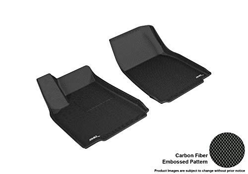 3D MAXpider Front Row Custom Fit All-Weather Floor Mat for Select Tesla Model X Models - Kagu Rubber (Black)