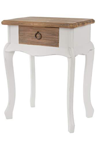 elbmöbel Couchtisch Tisch Beistelltisch weiß braun Landhaus Holztisch Holz robust massiv (H57 x B44 x T32cm)