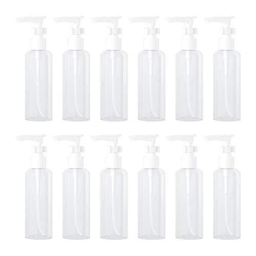 WhyTin 12 Stück 100ml Reisebehälterflaschen, leer, transparenter Kunststoff, Probeflasche, Luft-Reisegröße, Flasche mit Pumpkappen für Lotion, Handseife, Shampoo, Duschgel