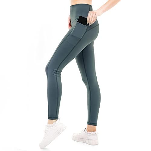ZENACROSS Leggins Sportivi Donna - Blu Grigio S - Fitness, Yoga, Jogging, Corsa