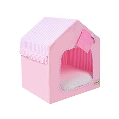 JEELINBORE Tragbar Faltbar Hundehaus Waschbar Katzen Hunde -Haus Bett Sofa (Rosa, S: 45 * 38 * 51cm)