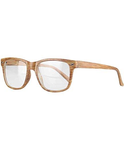 Caripe Herren Damen Retro Nerd Vintage Lesebrille Lesehilfe + Brillen-Etui- M33 (+2,5 dpt - Holzoptik natur)