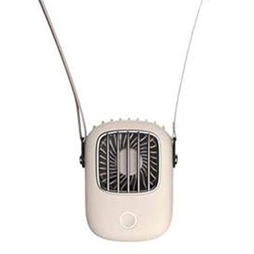 Nrew Mini Ventilador de Cuello USB 5V Cool Recargable para Viajes al Aire Libre Colgante Portátil Silencioso Blanco