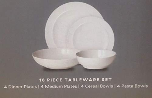 Denby Juego de vajilla de 16 piezas, 4 cenas, plato mediano y 4 cereales, cuenco para pasta