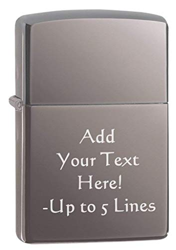 Zippo Black Ice Classic Outdoor Indoor Windproof Lighter Custom Personalized Engraved Message on Front