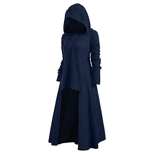 Alwayswin Damen Vintage Lange Mantel Umhang Gothic Hoodie Jacke Plus Size High Low Sweater Einfarbig Lange Bluse Tops Langer Kapuzenpullover Oberteile Outwear Cosplay Kostüm