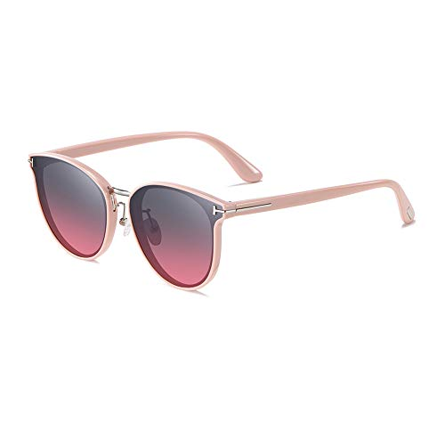 GEBZSM Redondas Retro Polarizadas Gafas de Sol Con Gafas de Sol Para Conducir Viajes Playa,Hombres Mujeres Piloto Retro Marco De Lente roja gradiente