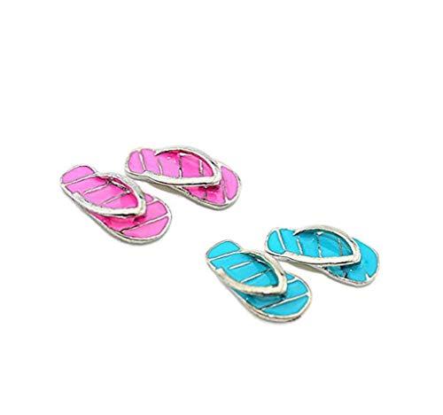 2 Paare 01.12 Puppenstuben Miniatur Fairy Garden Beach Flip Flops Mini-legierung Gestreifte Hausschuhe Für Puppen