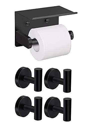 VAEHOLD Toilet Paper Holder with Shelf and 4 Pack Towel Hooks - Black