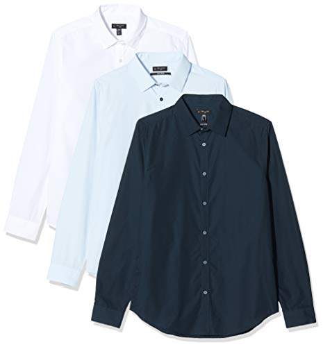 New Look 31 3pk LS Poplin Shirt s51 Camicia, Blu (Navy 41), Small (Taglia Unica: 51) Uomo