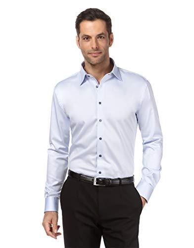 Vincenzo Boretti Herren-Hemd bügelfrei 100% Baumwolle Regular-fit Uni-Farben New-Kent Kragen - Männer lang-arm Hemden für Anzug Krawatte Business Hochzeit Freizeit eisblau 41/42