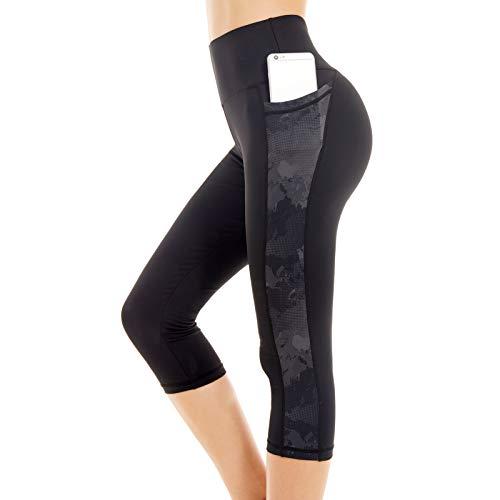 Picotee Sporthose Damen 3/4 Leggings Sport Gym Capri Leggins Schwarz Yoga Hose Laufhose Blickdicht, Large - Leggings Camo
