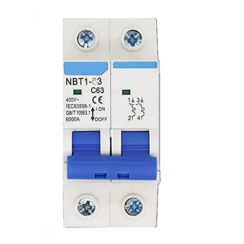 LUOXUEFEI Disyuntor Diferencial Interruptor Disyuntor De 2 Polos 6A 10A 16A 20A 32A 40A 50A 63A 400V Capacidad De Ruptura 6Ka