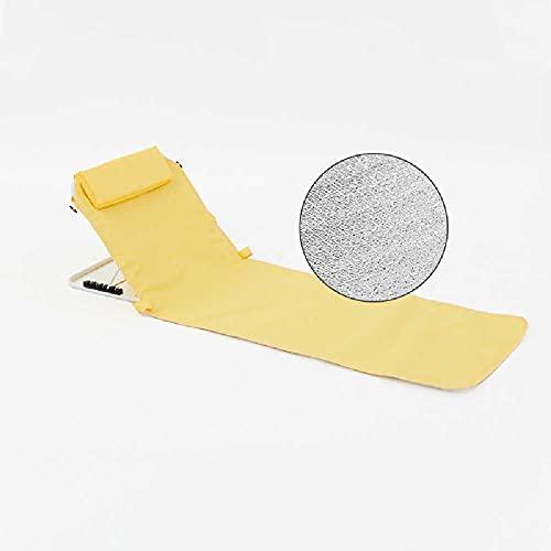 N\C Silla plegable portátil al aire libre sentado y reclinable de doble propósito, silla de pesca trasera, reclinable de camping al aire libre, silla de descanso de almuerzo, silla de playa amarillo