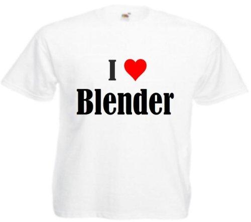 T-shirt I Love Blender voor dames heren en kinderen in de kleuren zwart wit roze