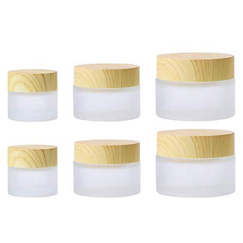 Pack de 6 tarros de Vidrio Esmerilado con preciosa tapa de madera