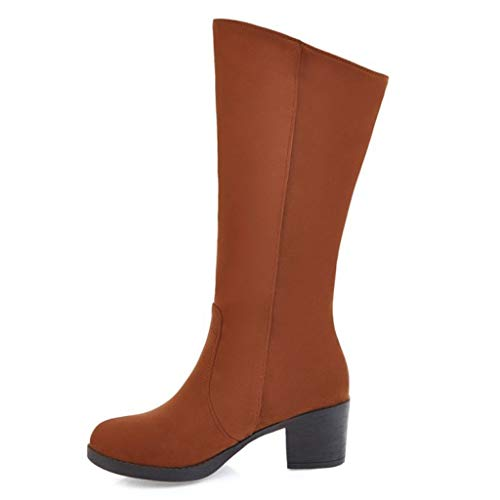 MOTOCO Frauen Stiefel Overknee Stiefel Damen Matte Wildleder Keen High Block Shaped High Heel Schuhe(41 EU,Gelb)