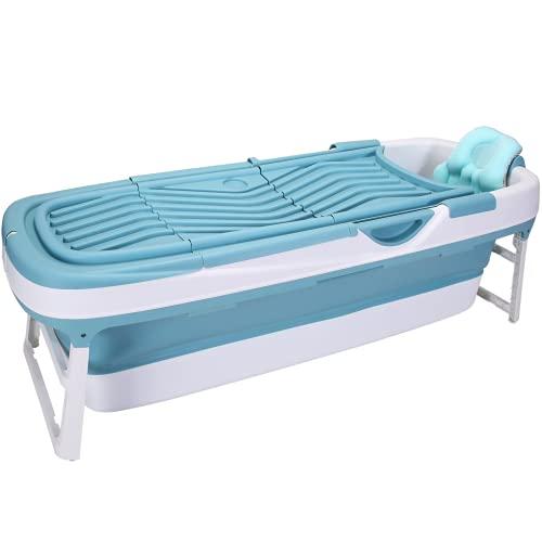CRS Bañera plegable XXL 158x60x53 cm, con cojín para adultos, plegable, para camping, baño y jardín, plegable