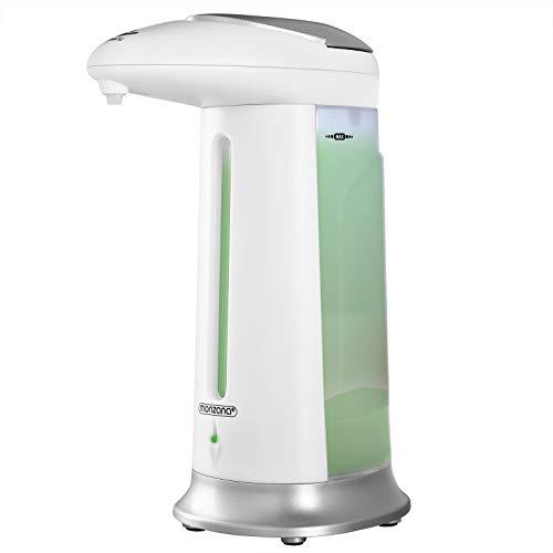 Monzana Distributeur automatique de savon 330 ml Distributeur automatique de désinfectant pour Salle de bain et Cuisine Blanc/argenté