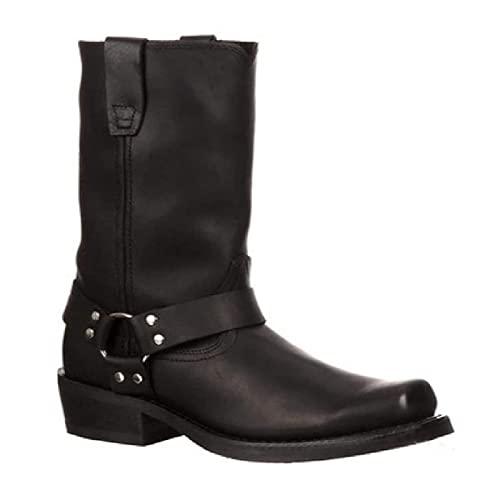 YXBD Botas de Vaquero Occidental, Botas Altas para Hombres Vintage Western Cowboy Style Botas largas Botas Casuales Motorcycle Boots Fashion Slip en Zapatos ecuestres