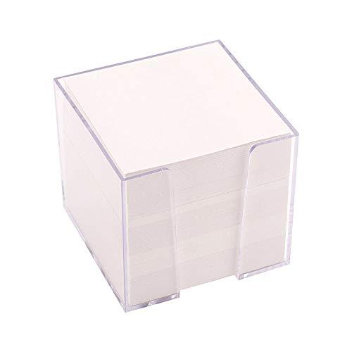 D.RECT Zettelbox Zettelkasten Kunststoff | 85x85x80mm circa 700 blatt | Weiß gefüllt