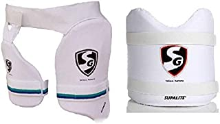 SG Original Combo of Two, one 'Combo Ultimate' Thigh pad + Inner Thigh pad and one 'Supalite' Chest Guard (Color On Availability)- Cricket Guard Combo