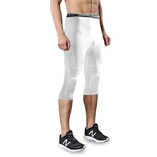 Trihedral-X Seguridad Anti-colisión de Baloncesto de los Hombres Pantalones Cortos de Entrenamiento físico 3/4 Leggings con Knee Pads Deportes 3XL Pantalones de Compresión (Color : White, Size : XXL)