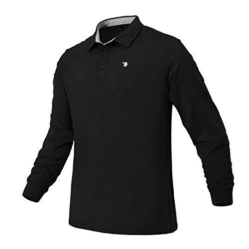 donhobo Poloshirts Herren Basic Langarm Einfarbig Freizeit Polo Kragen Langärmliges Polohemd für Männer Golf T-Shirt Schwarz XL
