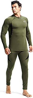 romision Mens Thermal Underwear Set, Insulated Longjohns Top&Bottoms Wool Sweat Quick Drying Thermo Base Layer for Winter
