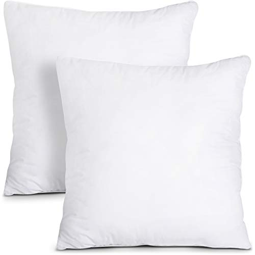 Utopia Bedding Cushion Inner Pads (Pack of 2) - Pillow Inserts 18' x 18' (45 x 45 cm) - Cotton Blend Cover - Hollowfibre Square Cushion Stuffer (Set of 2, White)