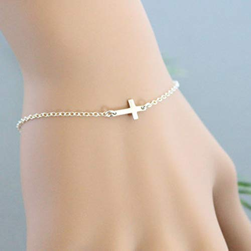 Yienate Boho Bracelet with Tiny Cross hand chain for women and Girls (Silver)