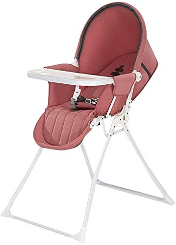 Foldable 2 in 1 Baby high Chair, Height-Adjustable Lounge Chair with Tray and Protective shed can be Placed 6 Months to 4 Years Old Baby,Red