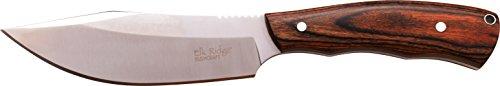 Elk Ridge Couteau d'extérieur Hunter Marron foncé Manche en Bois Pakka, Longueur Totale cm : 26,924, elkr de 1225