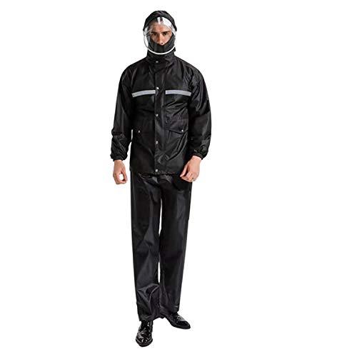 Mannen Vrouwen waterdichte regenjassen Suits Motorcycle Fietsen Hooded winddicht Splits Mantels Broeken Sets voor Wet Weather,XL